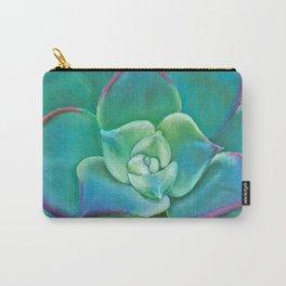 Vibrant Aqua Succulent Plant Carry-All Pouch