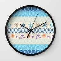 knitting Wall Clocks featuring Sea Knitting by Ornaart