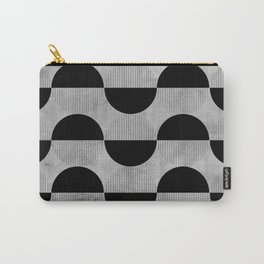 Black abstract 60s circles on concrete -Mix&Match with Simplicty of life Carry-All Pouch