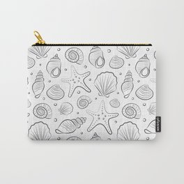 Sea shells illustration. White and gray. Summer ocean beach print. Carry-All Pouch