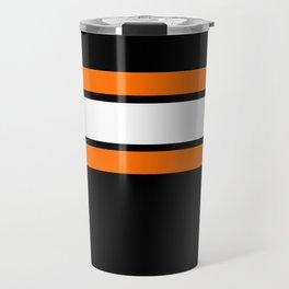 Team Colors...Orange , white stripes with black Travel Mug