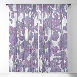 Iris flowers pattern Sheer Curtain