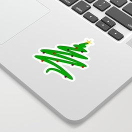 Minimalist Green Christmas Tree Doodle with Ornaments and Star Sticker