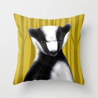 badger Throw Pillows featuring Badger by makoshark