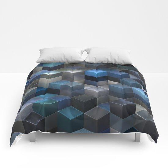 Artistic Cubes 09 blue Comforters