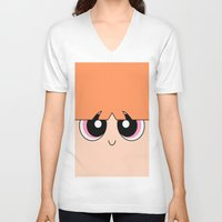 powerpuff girls V-neck T-shirts featuring Blossom -The Powerpuff Girls- by CartoonMeeting