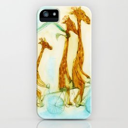 Family of giraffes rides a bicycle-tandem iPhone Case