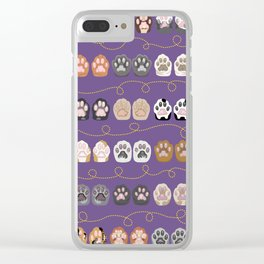 Toe Beans on Purple / Cat Paws Clear iPhone Case