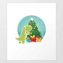 Dino Christmas Tree Dinosaur Animal Thanksgiving Santa Reindeers Xmas Presents Gift Art Print