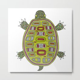 Tiled turtle Metal Print