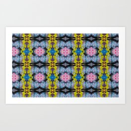 Bold Abstract Tile Style Acrylic Painting Repeat Pattern Art Print
