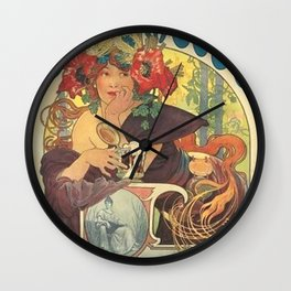 Alfons Mucha Art Nouveau Beer Ad Wall Clock
