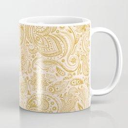Gold & Beige Floral Paisley Pattern Coffee Mug