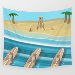 Team Pugs Surfing Wall Tapestry