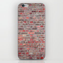 brick wall background - red vintage stone iPhone Skin