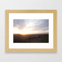 Salisbury Crags overlooking Edinburgh at sunset 2 Framed Art Print