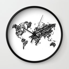 Scribble world map Wall Clock