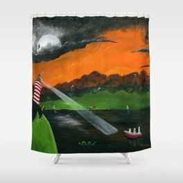 Hilly Haunted Lighthouse Shower Curtain