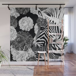ZEBRA AND CABBAGE ROSES BLACK AND WHITE Wall Mural