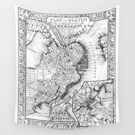 Vintage Map of Downtown Boston (1864) BW Wall Tapestry