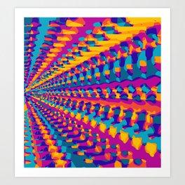 blue pink purple green orange yellow geometric graffiti painting abstract background Art Print