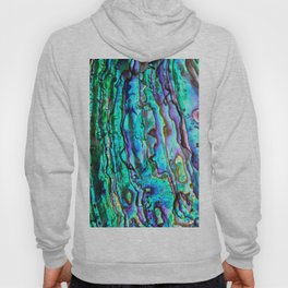Glowing Aqua Abalone Shell Mother of Pearl Hoody