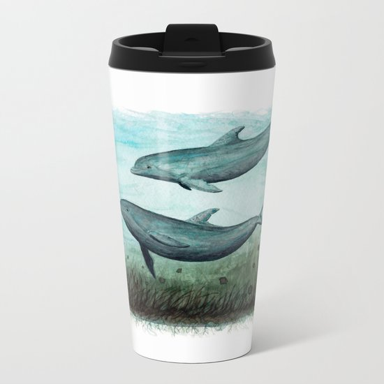 """""""Two Inshore Dolphins"""" by Amber Marine ~ Watercolor Painting, (c) 2015 Metal Travel Mug"""