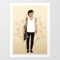 coconutwishes Art Prints featuring Skater Zayn  by Coconut Wishes
