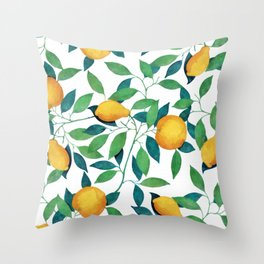 Lemon pattern II Throw Pillow