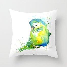 Budgie Series - IV Blue/Green Throw Pillow