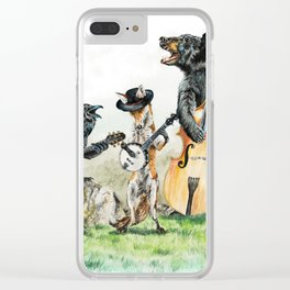""""""" Bluegrass Gang """" wild animal music band Clear iPhone Case"""