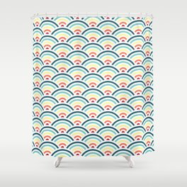 rainbowaves pattern (light) Shower Curtain