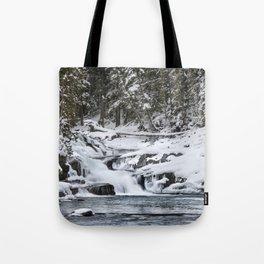 Winter Waterfall - Glacier National Park Tote Bag
