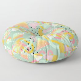 Rainbow Prism Candy Abstract Pattern Mint  Floor Pillow