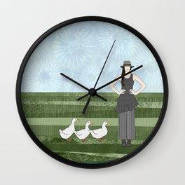 Pekin duck lady Wall Clock