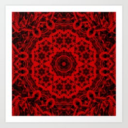 Vibrant red and black wattle mandala Art Print