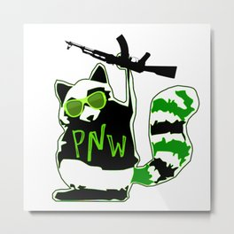 PNW Rebel Raccoon AK47 Metal Print