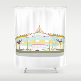 Carousel - white background Shower Curtain
