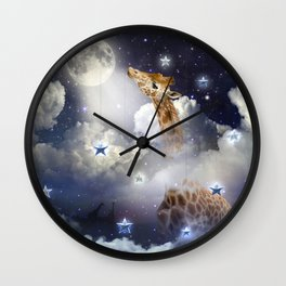Shoot For The Moon (Giraffe In The Clouds) Wall Clock
