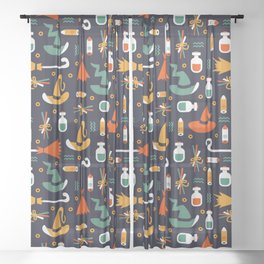 Happy halloween brooms, potions, witch hats and fingers pattern Sheer Curtain