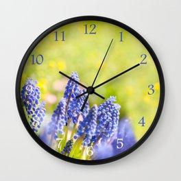Blue Muscari Mill clump of grapes Wall Clock