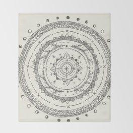 Moon Phase Mountain Mandala Throw Blanket
