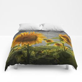 Sunflowers Blooming in a Field Comforters