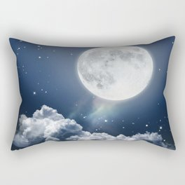 Full Moon Night in Blue Rectangular Pillow