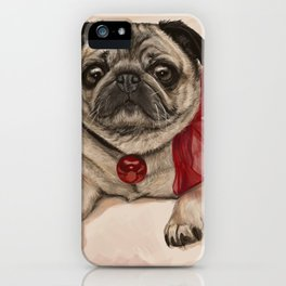 The pug with a red bow iPhone Case