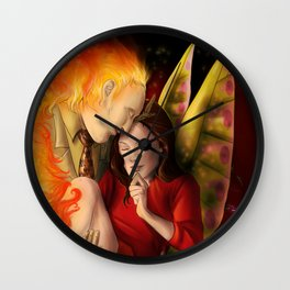Hannibloom - The Flame and the Moth Wall Clock