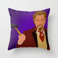 calvin Throw Pillows featuring Calvin Candie - Django Unchained by Tom Storrer