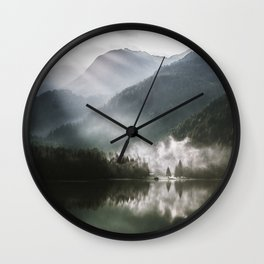 Mountains fog Wall Clock