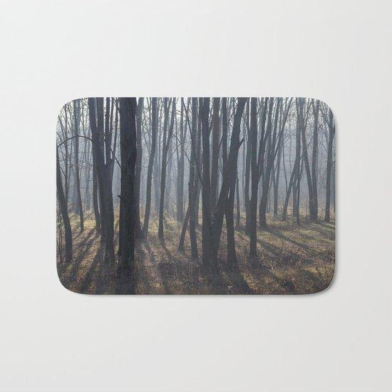 Fog Autumn forest Bath Mat
