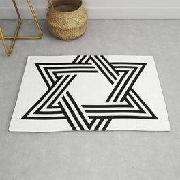 Six Stripe Hexagram Black and White Rug